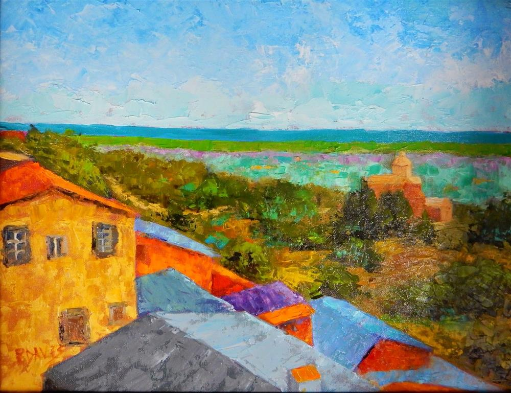 """Tuscan Rooftops"" original fine art by Phyllis Davis"