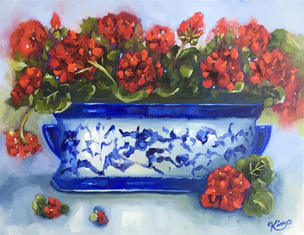 """Red Geraniums in Blue and White Porcelain"" original fine art by Kim Peterson"