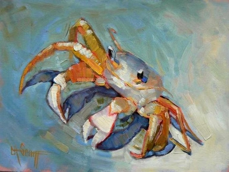 """Daily Painting, Small Oil Painting, Wildlife Painting  Sand Crab Painting,  Child's Room Art, Getti"" original fine art by Carol Schiff"