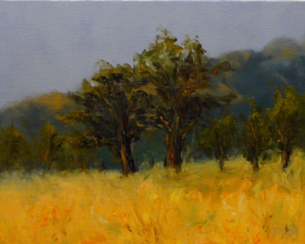 """Oaks In The Field"" original fine art by Dalan Wells"