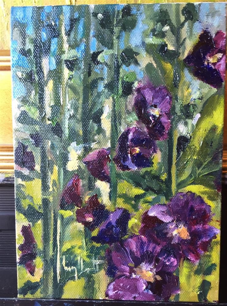 """Deep Hollyhocks"" original fine art by Lucy Hammett"