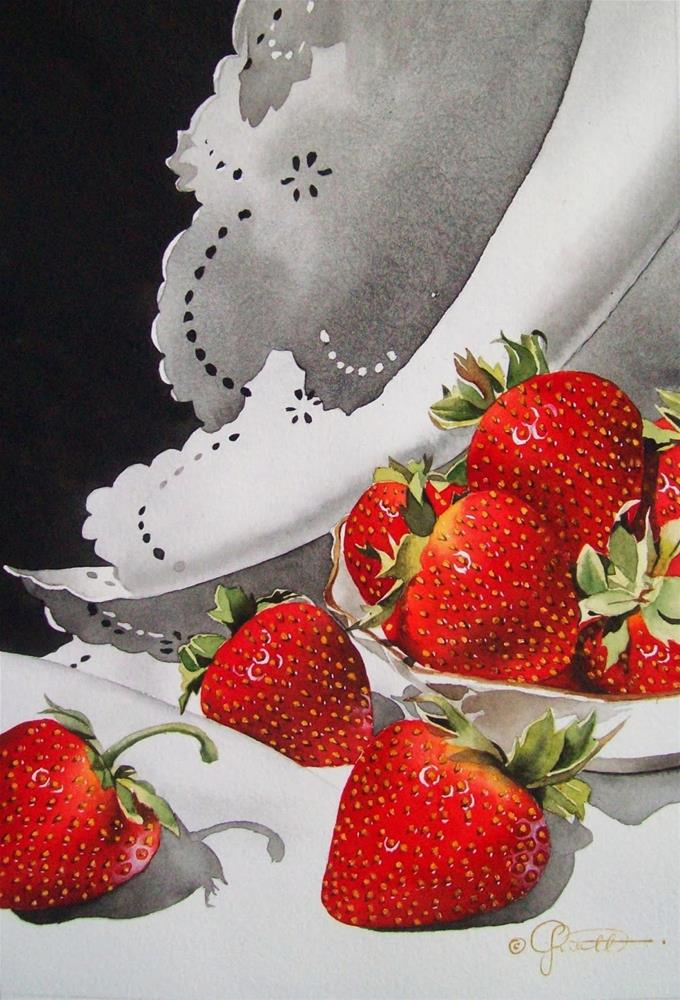 """Strawberries & Lace (Large)"" original fine art by Jacqueline Gnott, whs"