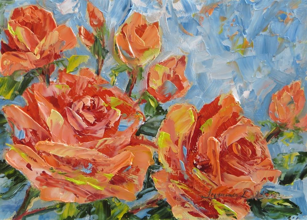 """Salmon Roses"" original fine art by Tammie Dickerson"