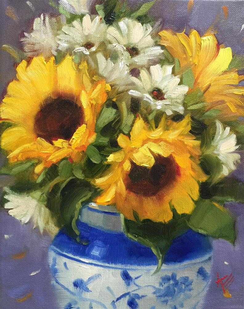 """Sunflower & Daisies"" original fine art by Krista Eaton"
