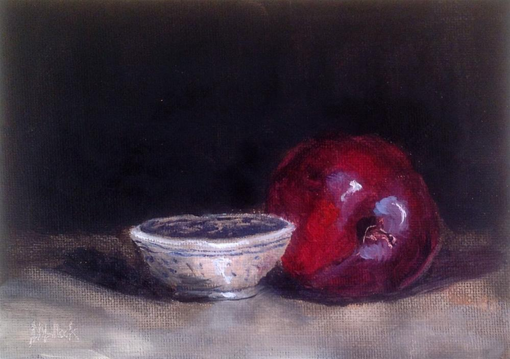 """One plum and a dipping bowl #704"" original fine art by Heidi Shedlock"