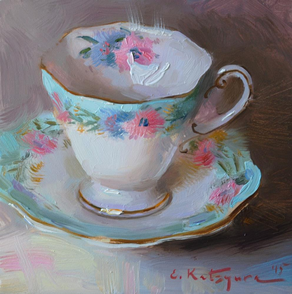 """Cornflower Teacup"" original fine art by Elena Katsyura"