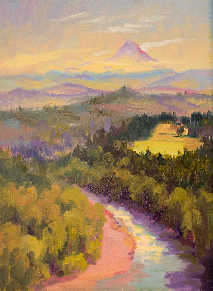 """JONSRUD HAZE AND MT HOOD"" original fine art by Karen E Lewis"