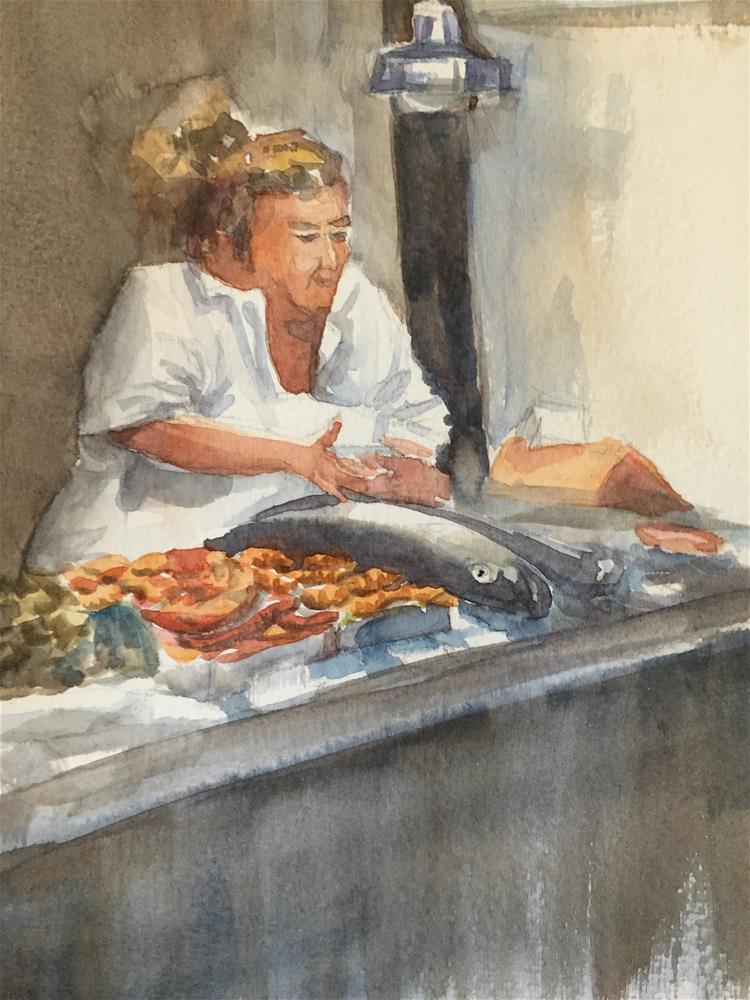 """Fish seller in Sevilla"" original fine art by Natasha Ramras"