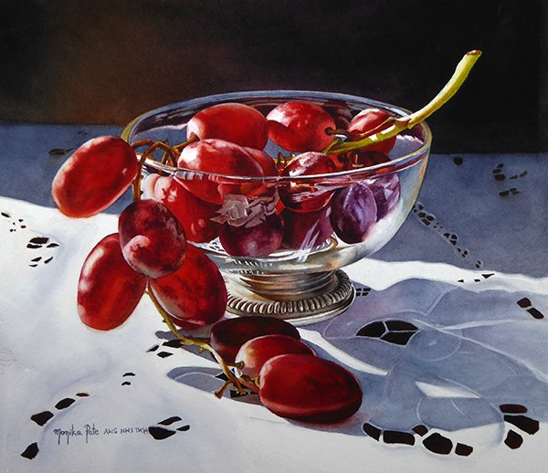 """Grapes and Glass"" original fine art by Monika Pate"
