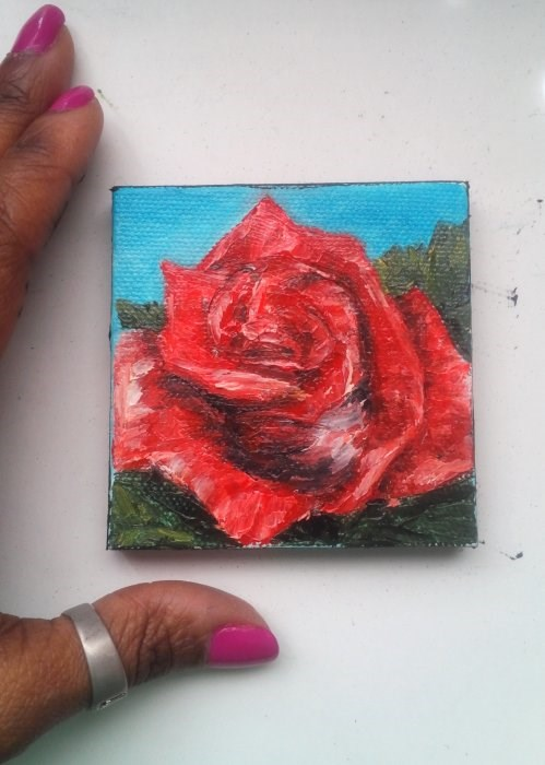 """Red rose"" original fine art by Camille Morgan"