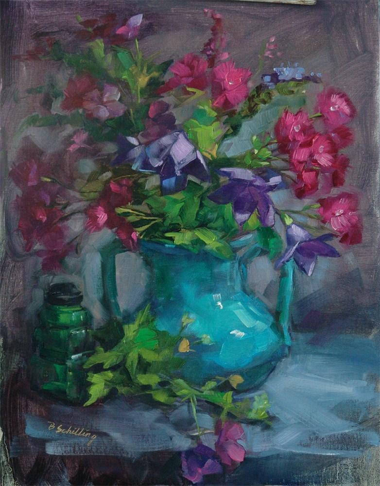 """Dianthus and Balloon Flower"" original fine art by Barbara Schilling"