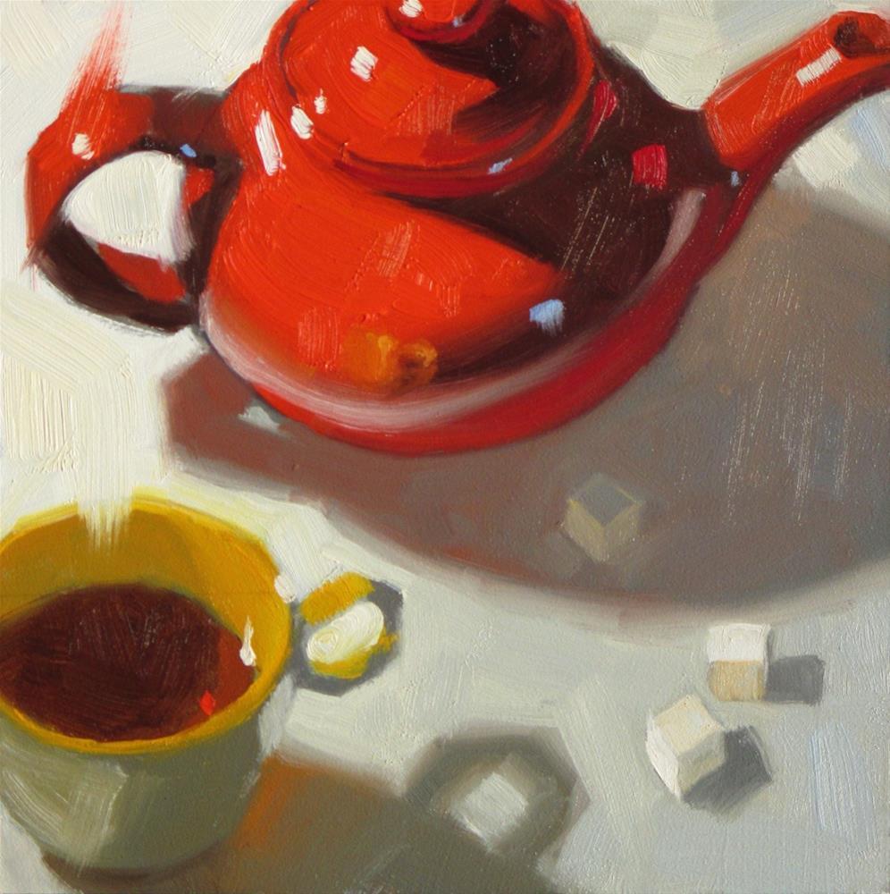 """""""A Pot of Tea  6 x 6  oil"""" original fine art by Claudia Hammer"""