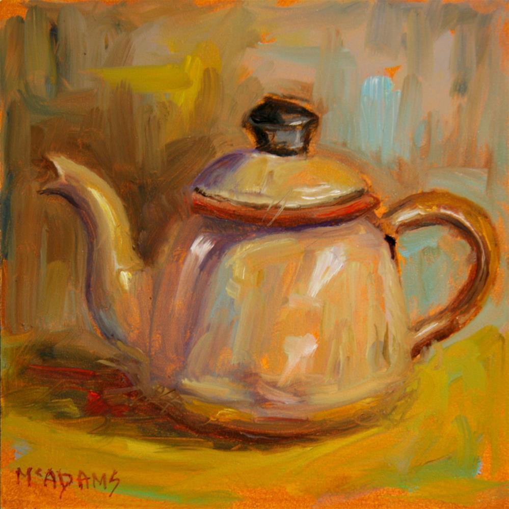 """Vintage enamel teapot."" original fine art by Phyllis McAdams"