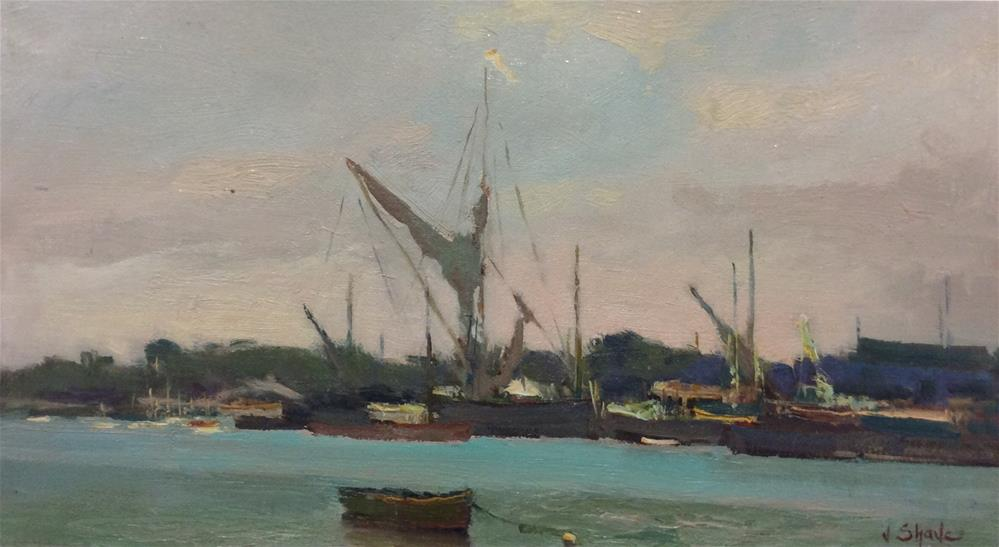 """Maldon Waterfront"" original fine art by John Shave"