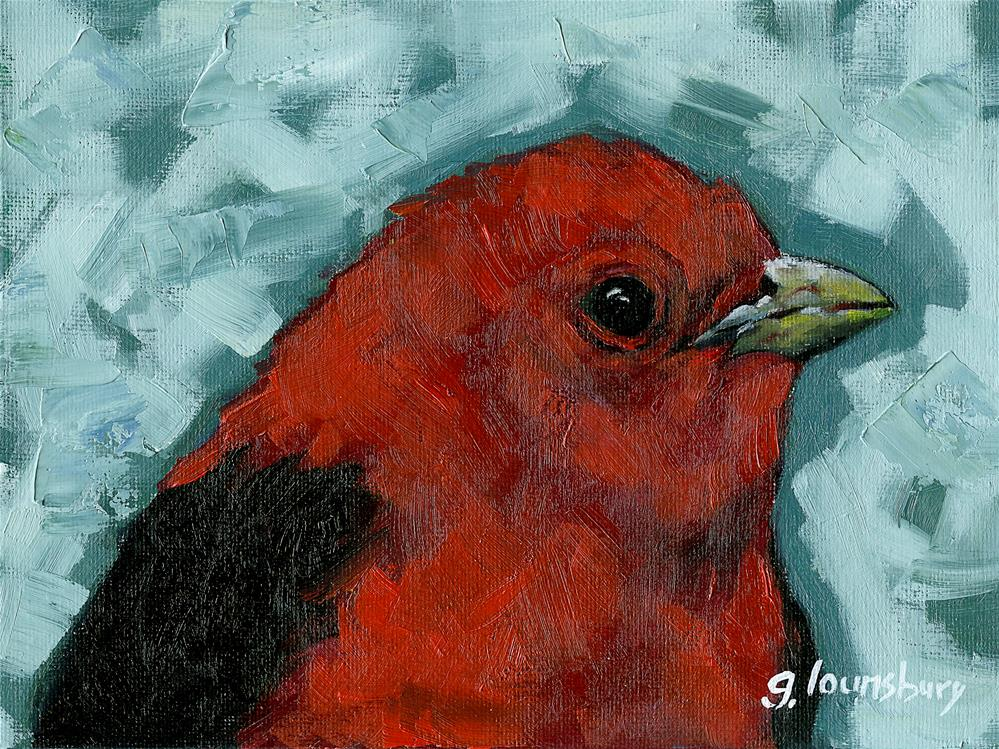"""Scarlett Tanager"" original fine art by Grant Lounsbury"