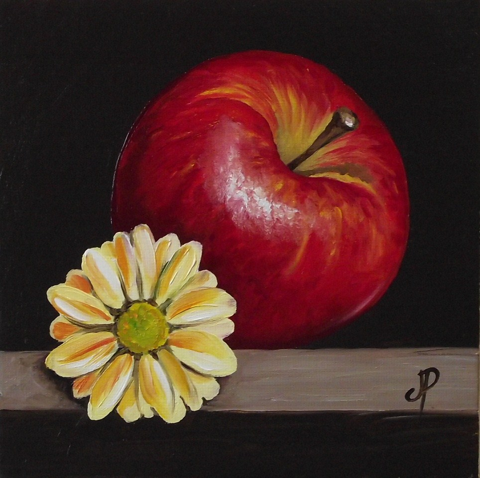 """Apple with Flower"" original fine art by Jane Palmer"