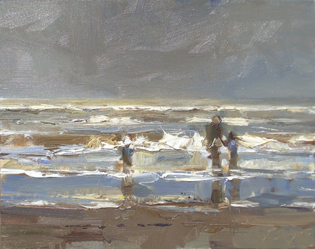 """Seascape winter #32 Winter sea and family"" original fine art by Roos Schuring"
