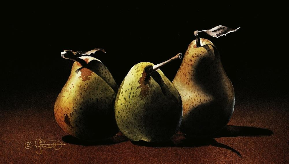 """Three Pears and Stock Reduction Sale on all DVDs."" original fine art by Jacqueline Gnott, whs"