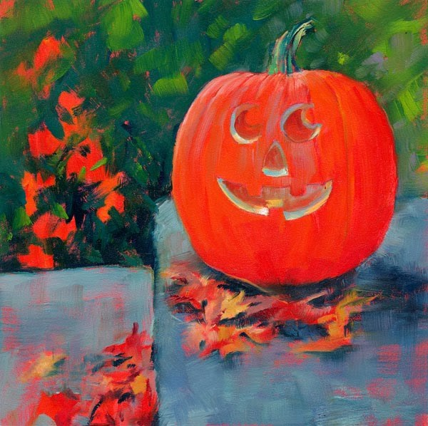 """Jack-O-Happy"" original fine art by Brenda Ferguson"