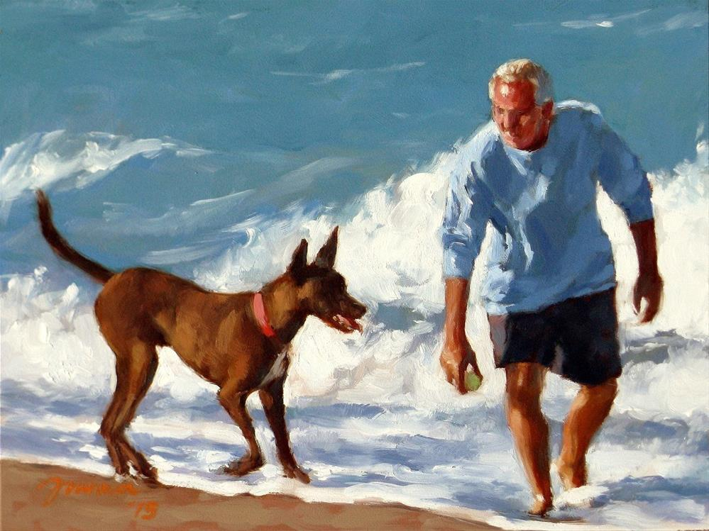 """Spring Training -- Series Painting of Dogs & Owners on the Beach"" original fine art by Joanna Bingham"