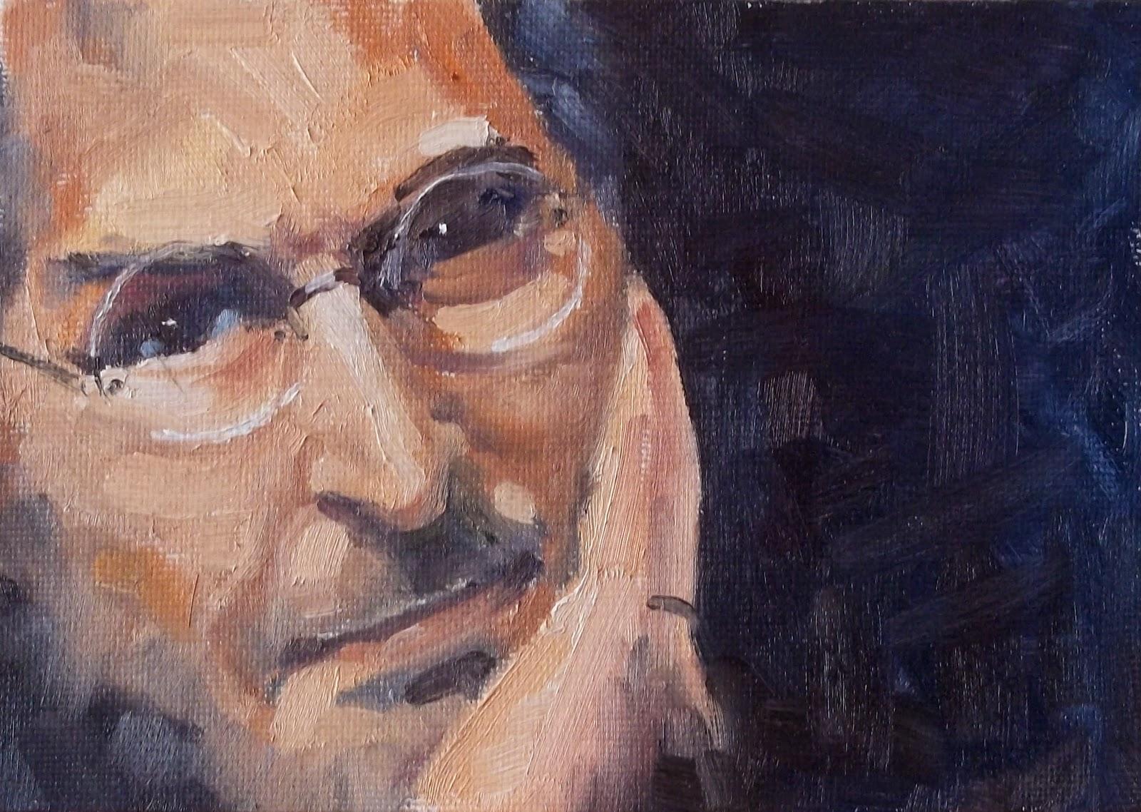 """Portrait of Steve Jobs"" original fine art by Deborah Newman"