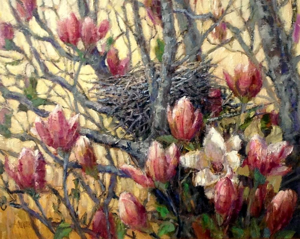 """Magnolia Tree Nest"" original fine art by Julie Ford Oliver"