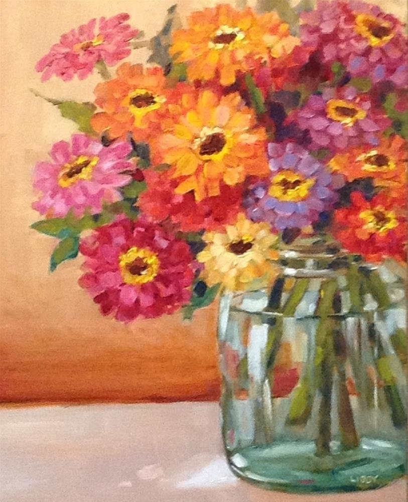 """""""Captive Zinnias"""" original fine art by Libby Anderson"""
