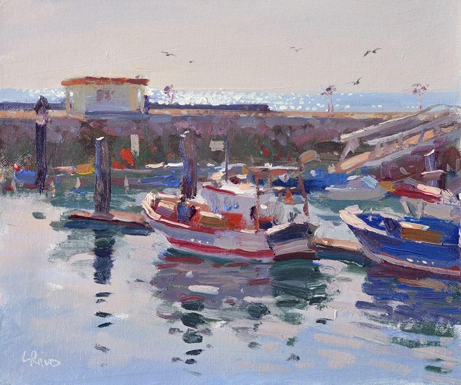 """Clear Morning in the Setubal Docks"" original fine art by Lena  Rivo"