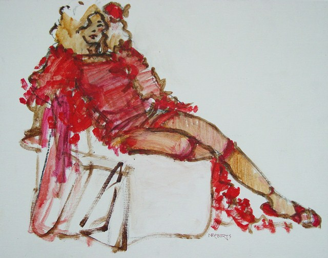 """Minx, Seated Pose"" original fine art by Nancy Roberts"