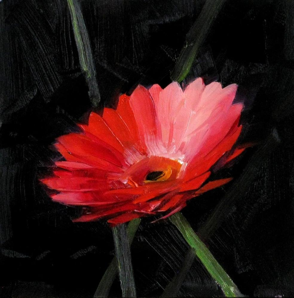 """Red Daisy Study 2"" original fine art by Qiang Huang"