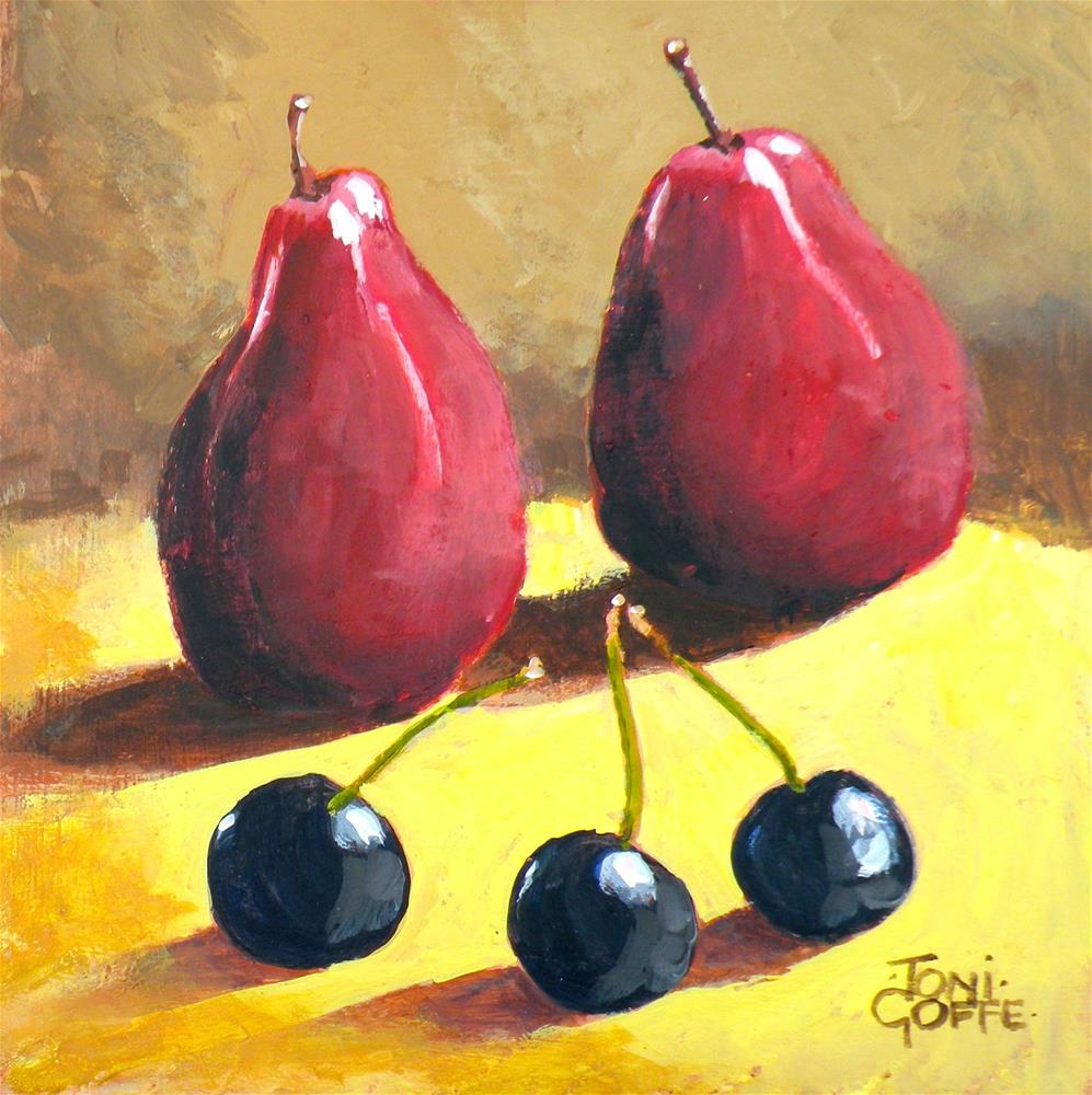 """Pears and cherries"" original fine art by Toni Goffe"