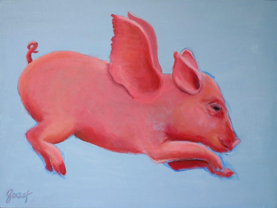"""When Pigs Fly"" original fine art by barbara quast"