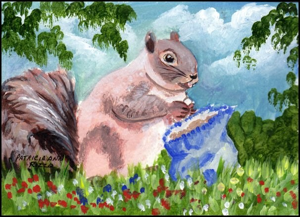 """Squirrel Finds Peanut Treasure"" original fine art by Patricia Ann Rizzo"