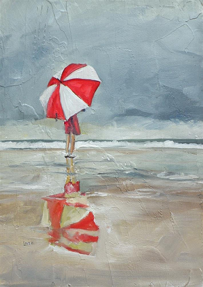 """RED AND WHITE UMBRELLA ORIGINAL OIL ON TEXTURED PANEL © SAUNDRA LANE GALLOWAY"" original fine art by Saundra Lane Galloway"