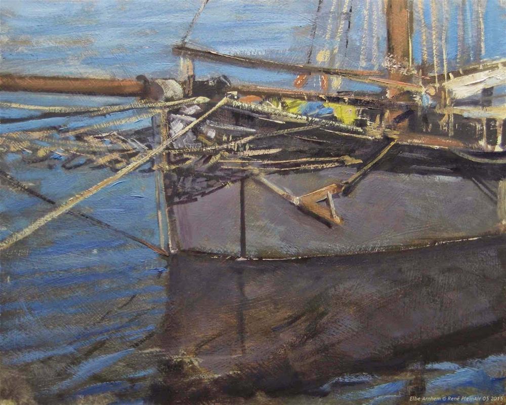 """Harbour days Arnhem The Netherlands"" original fine art by René PleinAir"