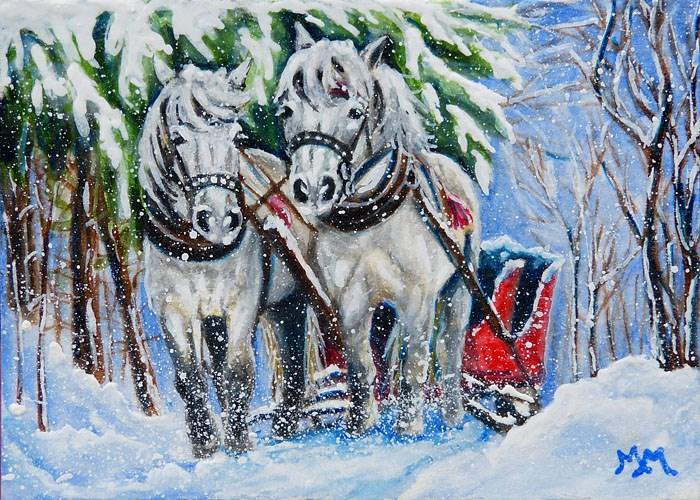 """""""Sled Horses"""" original fine art by Monique Morin Matson"""