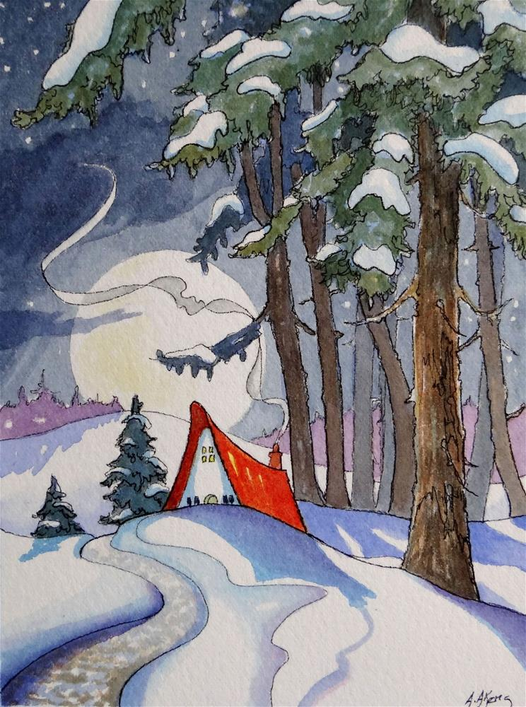 """Coming Home by a Winter Moon Storybook Cottage Series"" original fine art by Alida Akers"