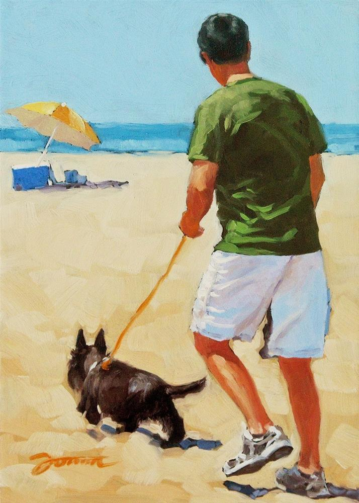 """Almost There--Series Painting of Dog & Owner"" original fine art by Joanna Bingham"