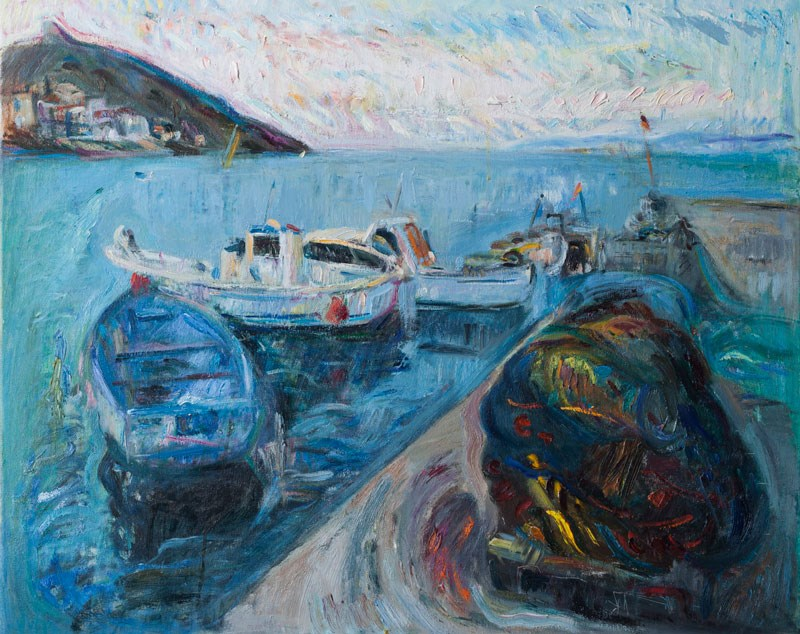 """Seascape with Fishing Boats"" original fine art by Anna  Fine Art"