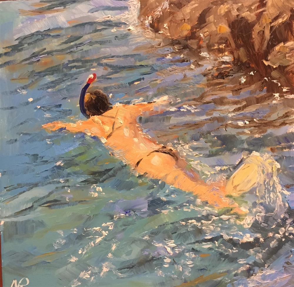 """A Snorkeler"" original fine art by Natasha Ramras"