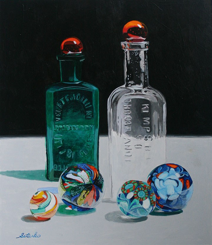 """Two Antique Bottles and Marbles"" original fine art by Setsuko Lawson"