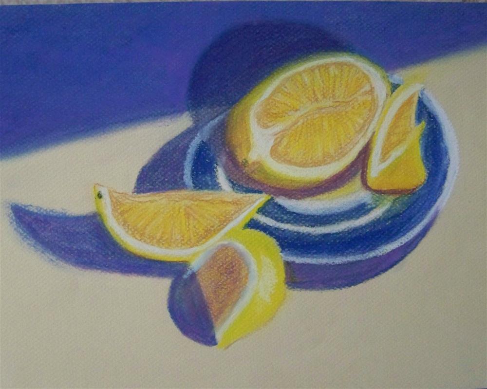 """""""Lemons on Blue & White Plate"""" original fine art by Elaine Shortall"""
