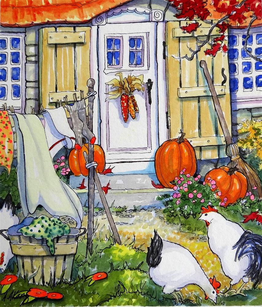 """An Autumn Yard Storybook Cottage Series Original"" original fine art by Alida Akers"