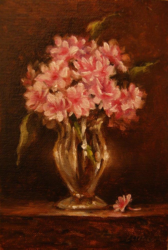 """""""Pink Hydrangeas in Crystal,  Oil on 4x6 Linen Panel"""" original fine art by Carolina Elizabeth"""