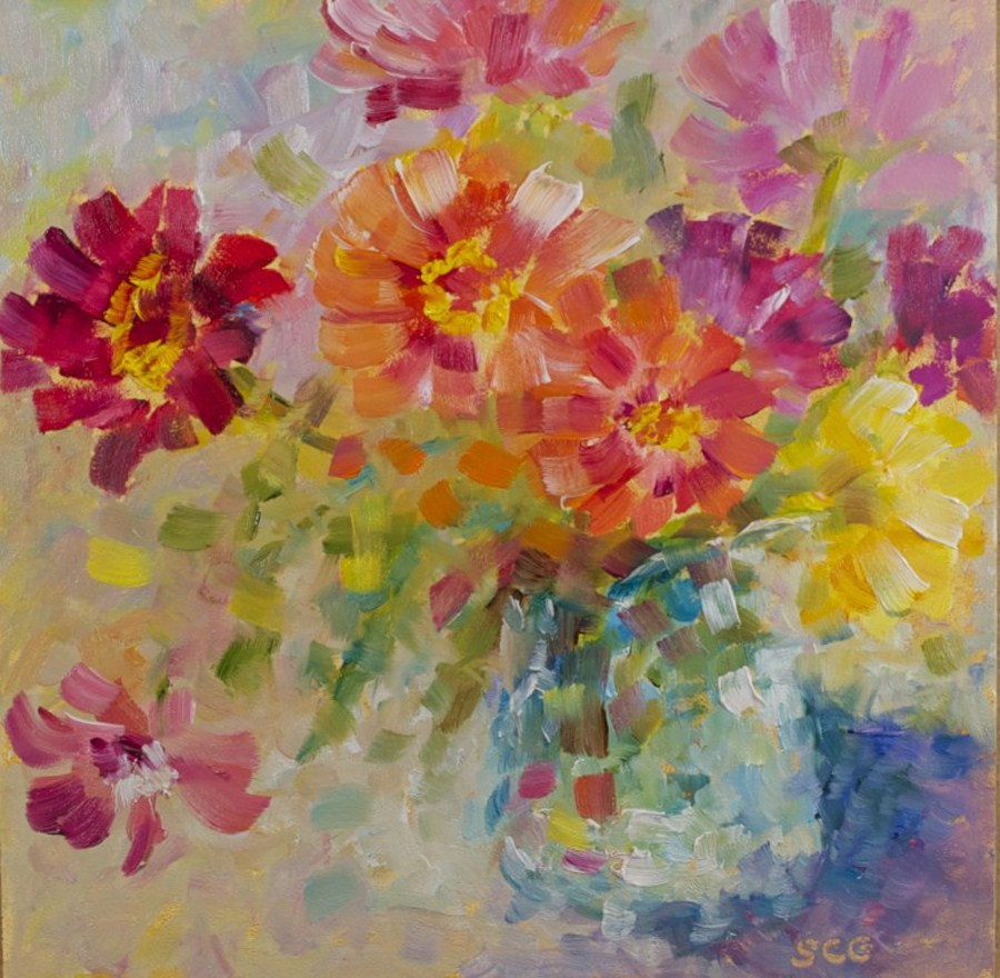 """Zinnias"" original fine art by Sue Churchgrant"