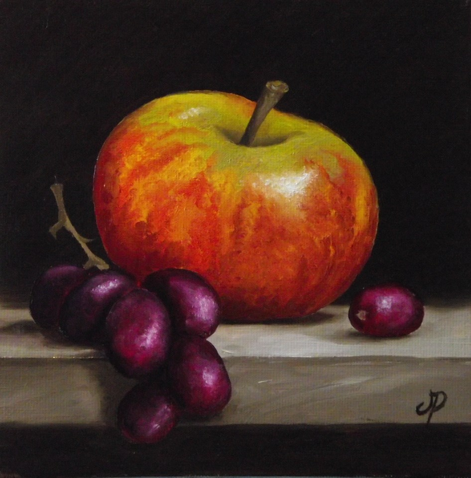 """Cox Pippin Apple with grapes"" original fine art by Jane Palmer"