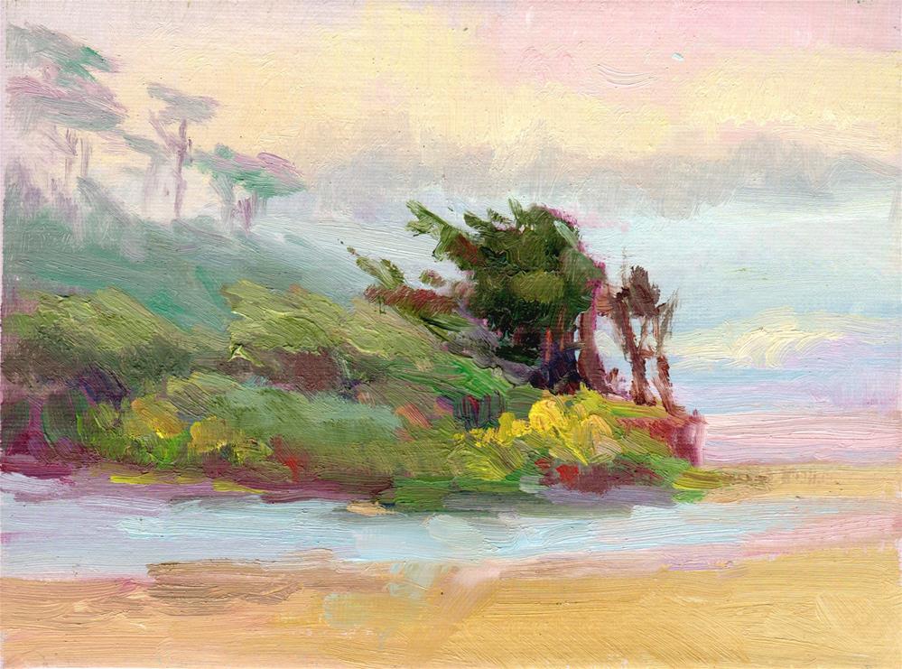 """TREES AND COASTAL FOG"" original fine art by Karen E Lewis"