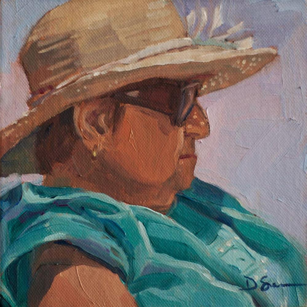 """Mom's Beach Hat"" original fine art by Deborah Savo"