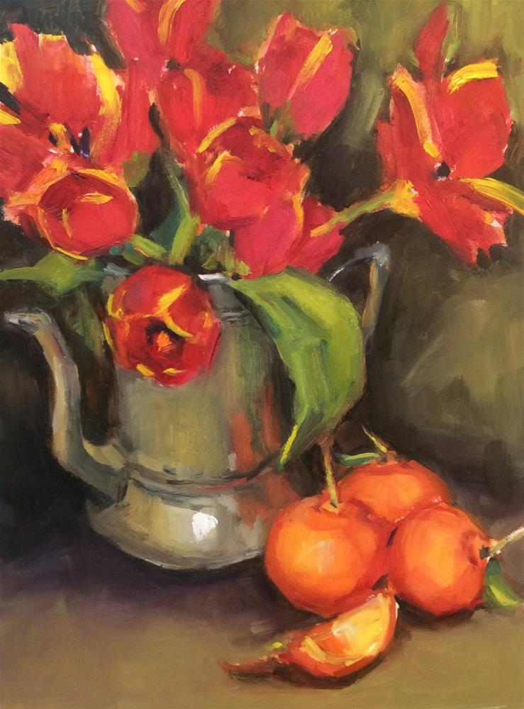 """Tulips and Tangelos"" original fine art by Laurie Johnson Lepkowska"