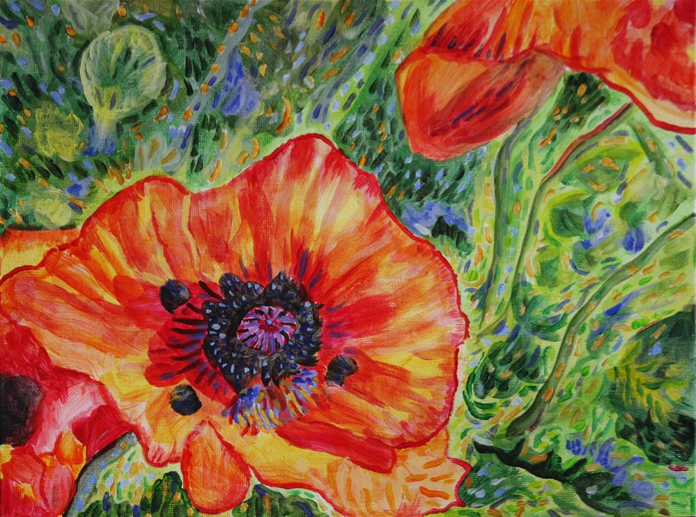 """Last Poppies"" original fine art by Terri-Anne Barge"